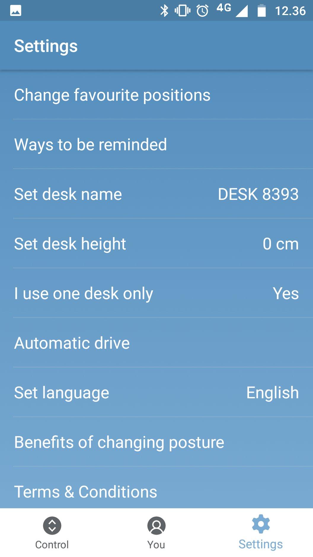 Capture d'écran de l'application Desk Control par LINAK